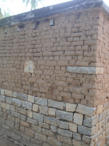 Karnataka2-Adobe walls with granite corner stone  for adequate distribution of load and breaking of vertical joints