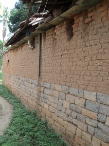 Karnataka3-Adobe walls over 3' high impervious granite stone walls.